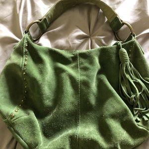 Green suede Lucky purse